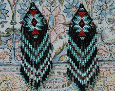 Long Beaded Fringe Earrings Native American by hoofandarrow