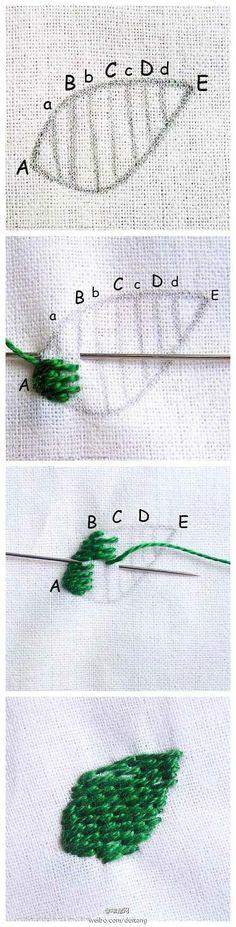 「一步一步教你缝制小叶子」一针一线,按照图中所示的步骤,就可以绣出一片可爱的小叶子啦!有绿色线的童鞋现在就动手试试看吧!DIY Embroidery Stitches, Easy Stitich pattern for kids, leaf pattern, kawaii, tutorial cute, awesome, cool