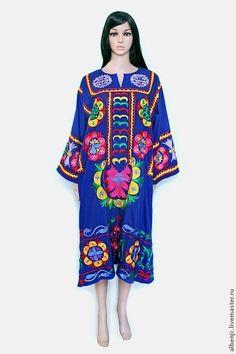"""Купить Платье """"Цветочная Пери"""" - тёмно-синий, орнамент, платье, летнее платье, восток"""