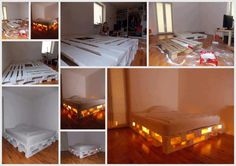 DIY Glowing Bed from Wooden Pallets