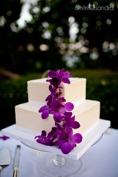 Purple Orchid Maui Wedding Cake Flowers By Ushima Photography Dmitri Sandra