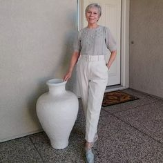 Short sleeved knitted top, high waist pants and espadrilles | Photo shared by Eileen | For more style inspiration visit 40plusstyle.com