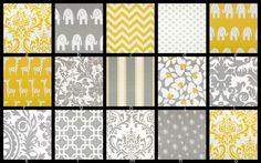 YOU DESIGN Custom 3 piece Crib Bedding Set - Bumper, Skirt and Sheet Yellow and Gray