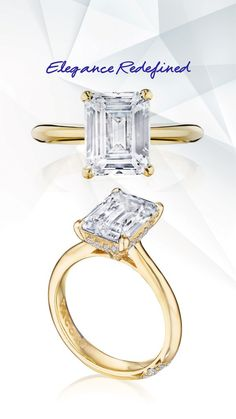 For the girl who wants her diamond served up crisp and clean. #engagementring #solitaire #solitairering #dreamring #gold #yellowgold #Tacori   Style HT2671EC95X75Y