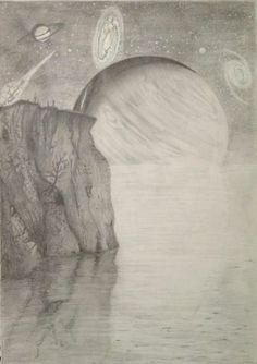 A space themed picture I drew many years ago. I drew it in grey pencils. I have a great interest in space and astronomy so likely see more of these type of pics. I think it could have been a bit darker with some of the shades and night sky :)