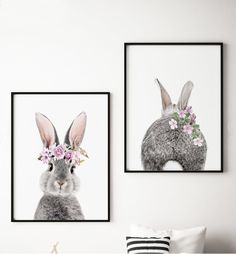 Beautiful Bunnies with Flower Crown. Set of 2 Print, Great gift for a baby shower or a kids birthday. Nursery decor, farm animal art, animals with flower crown,