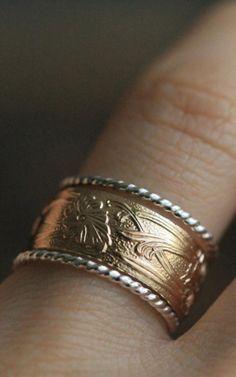 Art Nouveau Ring 14K Gold Filled Band & Two Twisted Silver Stackable Rings w…