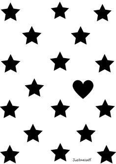 Poster met sterren en hartje zwart/wit