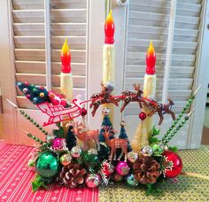 Holiday cheer! Here is a fun Christmas decoration made with vintage and new materials! This whimsical decoration features a vintage 3-candle...