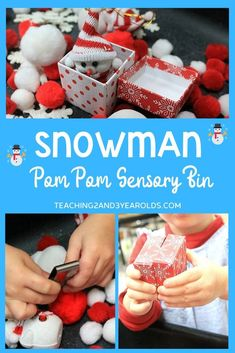 Pom Snowman Sensory Bin Learn how to put together a pom pom snowman sensory bin that will also strengthen fine motor development!Learn how to put together a pom pom snowman sensory bin that will also strengthen fine motor development! Christmas Activities For Toddlers, Sensory Activities Toddlers, Winter Crafts For Kids, Sensory Bins, Winter Activities, Infant Activities, Toddler Preschool, Sensory Table, Frozen Yogurt Drops