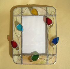 Do this as a mirror? Stained Glass Frames, Stained Glass Projects, Leaded Glass, Stained Glass Art, Beveled Glass, Mosaic Glass, Fused Glass, Glass Christmas Decorations, Stained Glass Christmas