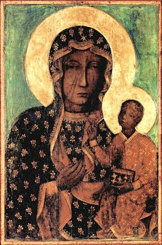 Our Lady of Czestochowa Black Madonna and Child Jesus Icon CANVAS print from Poland Catholic Paintings Virgin Mary Print Art Polish Gifts Madonna Und Kind, Madonna And Child, Oil Painting Gallery, Modern Oil Painting, Oil Paintings, Catholic Art, Religious Art, Luke The Evangelist, Juan Pablo Ll