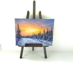 ACEO Winter painting aceo original painting on canvas oil painting miniature painting sunset landscape Christmas painting ATC art card by PicNatArt on Etsy https://www.etsy.com/listing/565011228/aceo-winter-painting-aceo-original