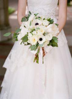 white wedding bouquet with anemones