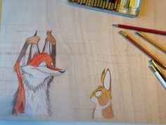 Ilustración sobre tabla. Infantil.