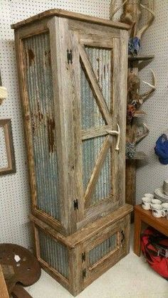Corrugated tin and wood rustic  tall cabinet