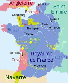 Batailles et chevauchées sous Jean le Bon: Etoile Jaune: principales batailles de la 1° phase de la guerre. Territoire vert: possessions de Charles de Navarre. Pointillé jaune: chevauchée du Prince Noir en Languedoc en 1355. Pointillé rouge: chevauchée de Lancastre en 1356. Pointillé vert: itinéraire du Prince Noir en 1356,  Ointillé blanc: chevauchée d'Edouard III en 1359-60.