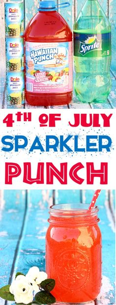 of July Party Ideas! This 3 Ingredients Patriotic Sparkler Punch Recipe for K - Beste Cocktails of July Party Ideas! This 3 Ingredients Patriotic Sparkler Punch Recipe for K - Beste Cocktails - Punch Recipes For Kids, Party Punch Recipes, Fun Easy Recipes, Party Punch Kids, Summer Punch Recipes, Party Punches, Alcohol Punch Recipes, 4. Juli Party, 4th Of July Party