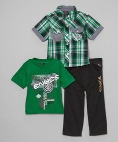 Loving this Green Plaid Short-Sleeve Button-Up Set - Infant, Toddler & Boys on #zulily! #zulilyfinds