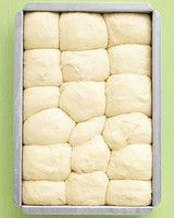 No-Knead Dinner Rolls - Martha Stewart Recipes -- Even beginner-level bakers will have no trouble making these fluffy rolls; the dough can be prepped, put in the pan, and chilled up to a day ahead. let-s-share-recipes Recettes Martha Stewart, Martha Stewart Recipes, Tortillas, Bread Recipes, Baking Recipes, Muffin Recipes, Do It Yourself Food, Good Food, Yummy Food