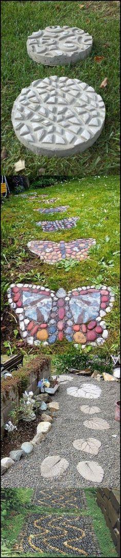 DIY Garden Stepping Stones, love the butterflies