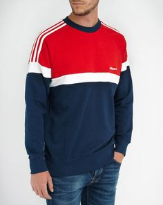 Sweat Raglan Tricolore Bleu Blanc Rouge ADIDAS