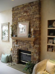Furniture, Classic Brown Stone Fireplace Decorating Ideas For Your Home With Lovely Photo Frame And Candle Holder And Flower Vase With Simple Wall Shelving And Comfy Sofa With Pillows: Fireplace Decorating ideas for Your Home Design