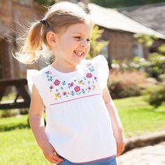 1146bcd2340e2 Girls' White Floral Embroidered Top | JoJo Maman Bebe Kids Fashion,  Maternity, Child