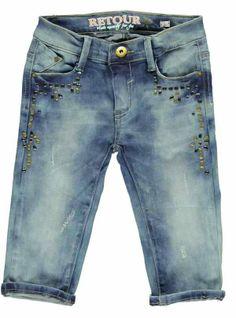 Stoere 5-pocket capri jeans van Retour Jeans. De jeans is bewerkt met 'studs' en de taille is verstelbaar met elastiek.  Retour Jeans Fabia www.kidsindustry.nl