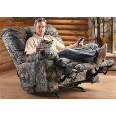 "If You Are An Outdoors Man Like Me You'll LOVE This Recliner In Your Man Cave.Of Course All Catnapper Recliners Come With Electric ""PUSH BUTTON"" Recline (Your Choice) 6 second complete Electric recline. ww.facebook.com/WarnerRobinsFurniture"