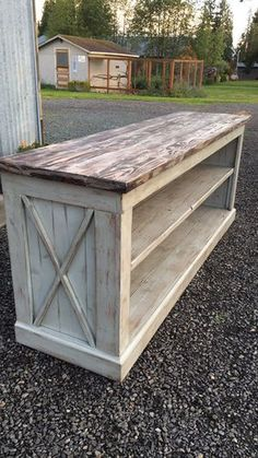 Woodworking Projects Used (normal wear), Unique handmade entertainment console. Delivery available . Make an offer! - Used (normal wear), Unique handmade entertainment console. Delivery available . Make an offer! Farmhouse Furniture, Farmhouse Table, Pallet Furniture, Furniture Projects, Rustic Furniture, Home Furniture, Furniture Stores, Cheap Furniture, Antique Furniture