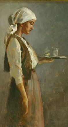 """Nicolae Vermont, """"Femeie tânără cu tavă"""" (""""Young Woman with a Tray"""") Gustave Courbet, Life Drawing, National Museum, Historical Photos, Vermont, Impressionist, Art Museum, The Help, Illustration Art"""
