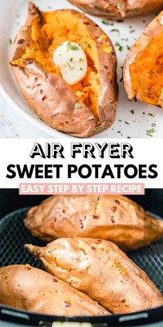 Air Fryer Sweet Potatoes bake up perfectly creamy and flavorful every time without much effort! Learn how easy and fast it is to make them in your Air Fryer. Baked Sweet Potatoes are a great side dish that can be made sweet or savory! Air Fryer Recipes Snacks, Air Frier Recipes, Air Fryer Recipes Breakfast, Air Fryer Dinner Recipes, Air Fryer Recipes Low Carb, Small Air Fryer, Cooking Sweet Potatoes, Baked Sweet Potatoes, Air Fryer Sweet Potato Fries