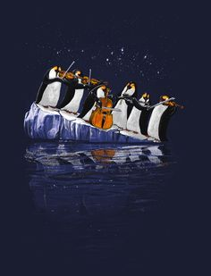 I like the environmental message presented by this... the subtle visual analogy of the penguins playing instruments on a sinking block of ice is reminiscent to a similar orchestra on the Titanic. Also: PENGUINS!