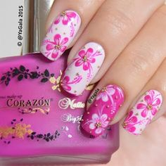 pink and white flower nail art