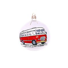 hand painted bauble with old red polish bus | Christmas decorations