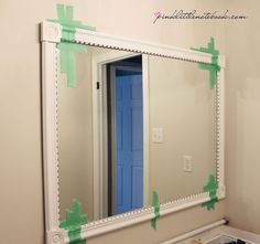 How To Frame Out That Builder's Grade Mirror...the easy way! - Pink Little NotebookPink Little Notebook