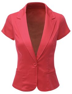 Doublju Women Short Sleeve Peaked collar 1 button Blazer