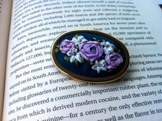 Lavender White and Blue Beaded Rose Brooch by BeanTown Embroidery