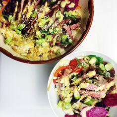 """Ris, kött, grönsaker med en """"liten"""" touch, mat man mår bra av!😊 Gissa vilken av skålarna som är till @jyckencedenblad ?"""