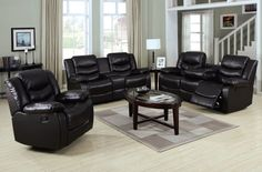 Torrance Espresso Bonded Leather Wood Living Room Sets