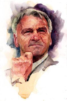 Bobby Robson by Stephen Gardner Pastel Portraits, Watercolor Portraits, Watercolor Paintings, Portrait Sketches, Portrait Art, Figure Painting, Painting & Drawing, Bobby Robson, Watercolor Face