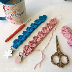 Little Heart pacifier holder - free crochet pattern in English and Swedish at AnnaVirkpanna.