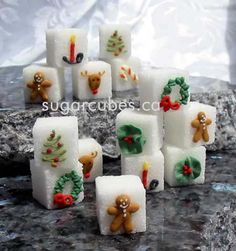 Christmas Time Decorated Sugar Cubes and Miniature Cookies for the perfect Holiday Celebration!