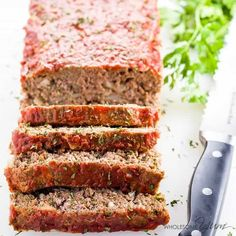 This gluten-free, paleo, low carb meatloaf recipe is super easy to make. You need only 8 ingredients and 10 minutes prep time!