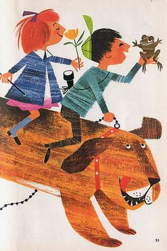 Pear-Shaped Hill, Illustrations by Bernice Myers, Bill & Jill Vintage Books, Vintage Posters, Vintage Art, Art And Illustration, Book Illustrations, Dog Art, Childrens Books, Walt Disney, Drawings