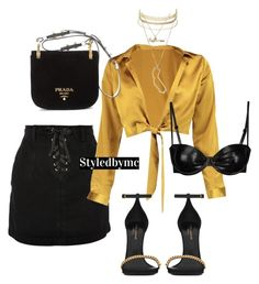 """""""Black x Gold silk"""" by styledbymc ❤ liked on Polyvore featuring Topshop, Boohoo, Charlotte Russe, Yves Saint Laurent and Prada"""