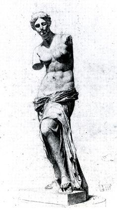Sargent John Singer Drawings - Copy of Venus de Milo. Pencil on paper. 1874