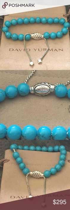 David Yurman spiritual turquoise bracelet It adjusts so size is easy... DY hallmark 925 and pouch is included.  Ready for under the tree David Yurman Jewelry Bracelets