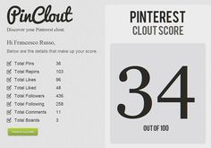 PinClout to know how influent you are on Pinterest ;)